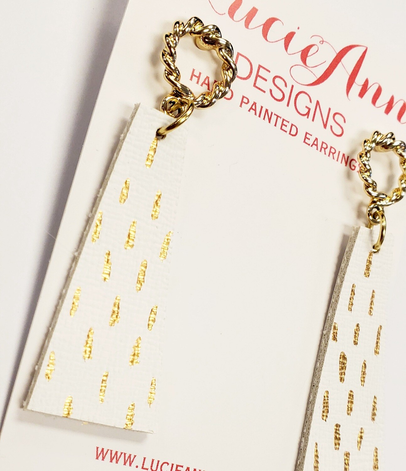 Petite Drop Triangle- White/Gold Abstract