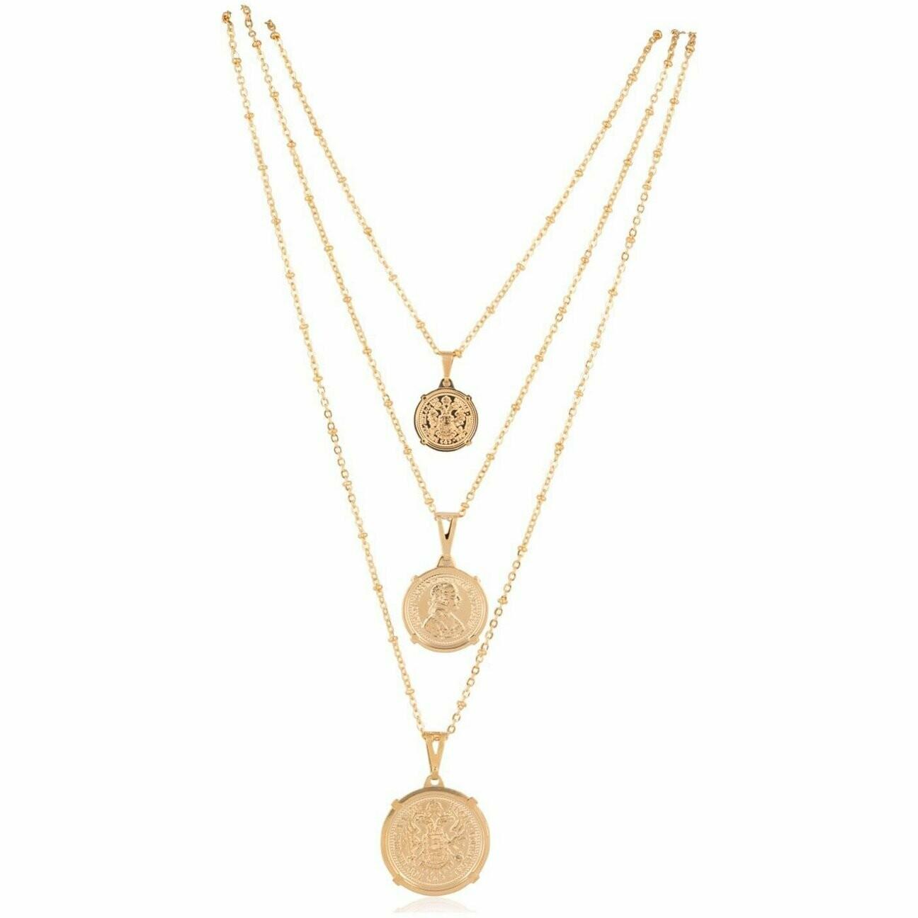 "Sahira Emperor Coin Necklace Large 20"""