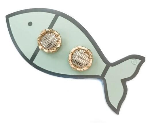 Little Fish Boateak Boa Shimmer Porthole Studs