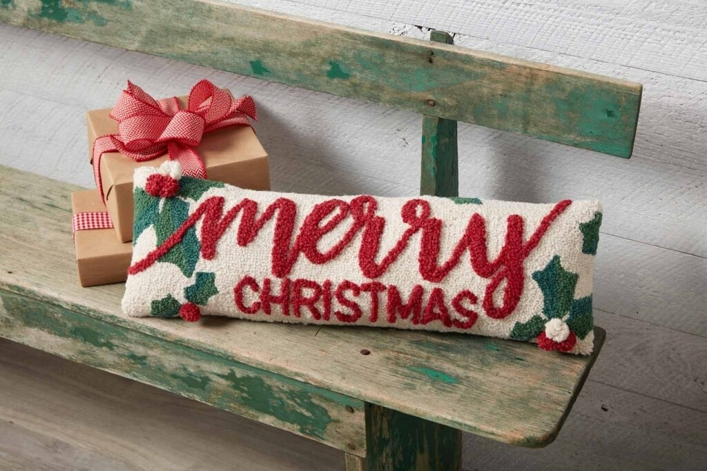 MudPie Holly Merry Christmas Pillow