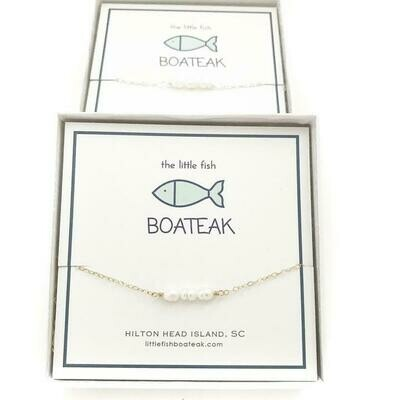 Little Fish Boateak Pearl 3 Bead Necklace- Gold
