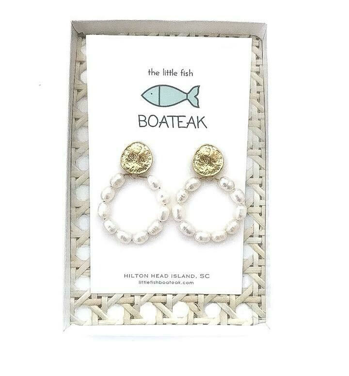 Little Fish Boateak Rice Pearl Hoops Coin