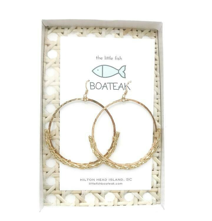 Little Fish Boateak Dock Line Rope Earrings {Gold Braid} Mainsail Lg