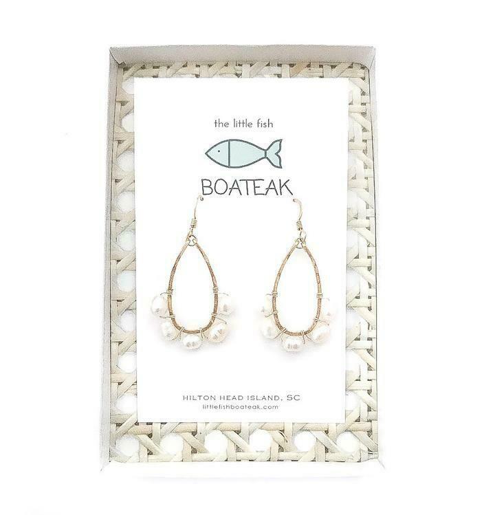 Little Fish Boateak Coastal Glam Beaded Mini Keel Earrings w/ Rice Pearls