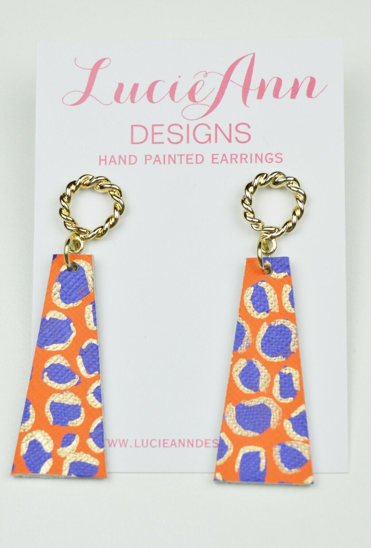 Petite Drop Triangle- Orange/Purple Leopard