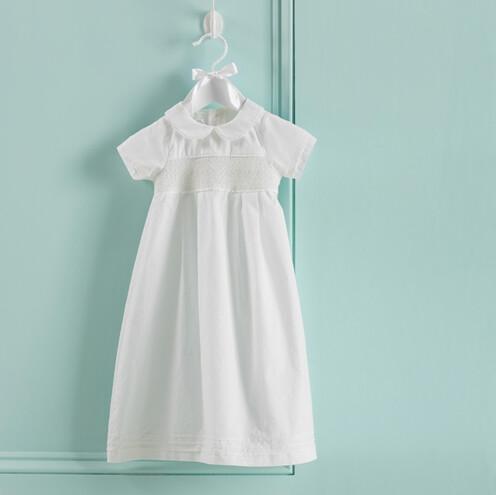 MudPie Smocked Christening Gown 0-6M