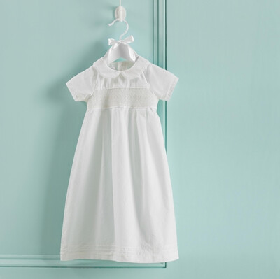 MudPie Smocked Christening Gown 0-6M