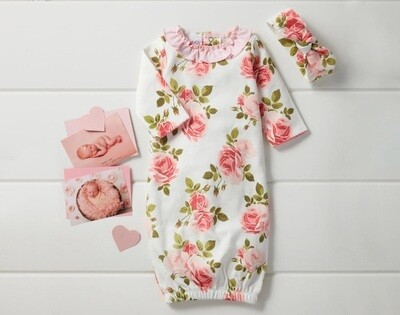 MudPie Rose Gown & Headband Set 0-6M