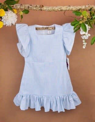 Gabby Flutter Sleeve Cotton Linen Dress