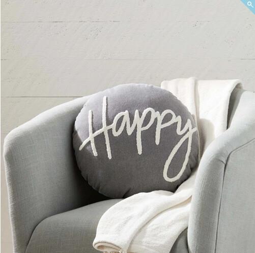 MudPie Happy Round Pillow