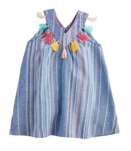 MudPie Chambray Tassel Dress