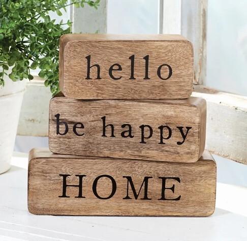 MudPie Hello Happy Home Block Set