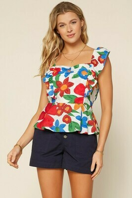Ruffle The Flowers Top