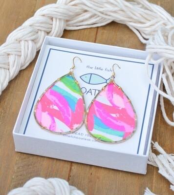 Little Fish Boateak Flamenco Beach Schooner Earrings
