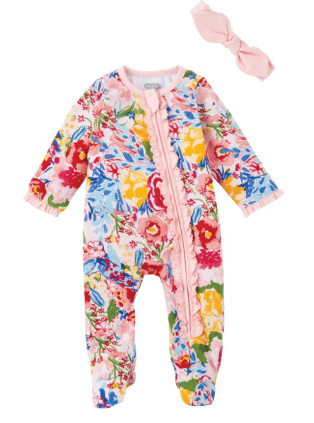 MudPie Floral Baby Sleeper and Headband Set