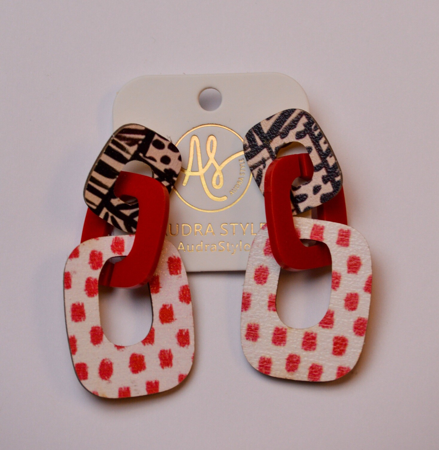 Audra Style Lola Black Abstract Red Dot