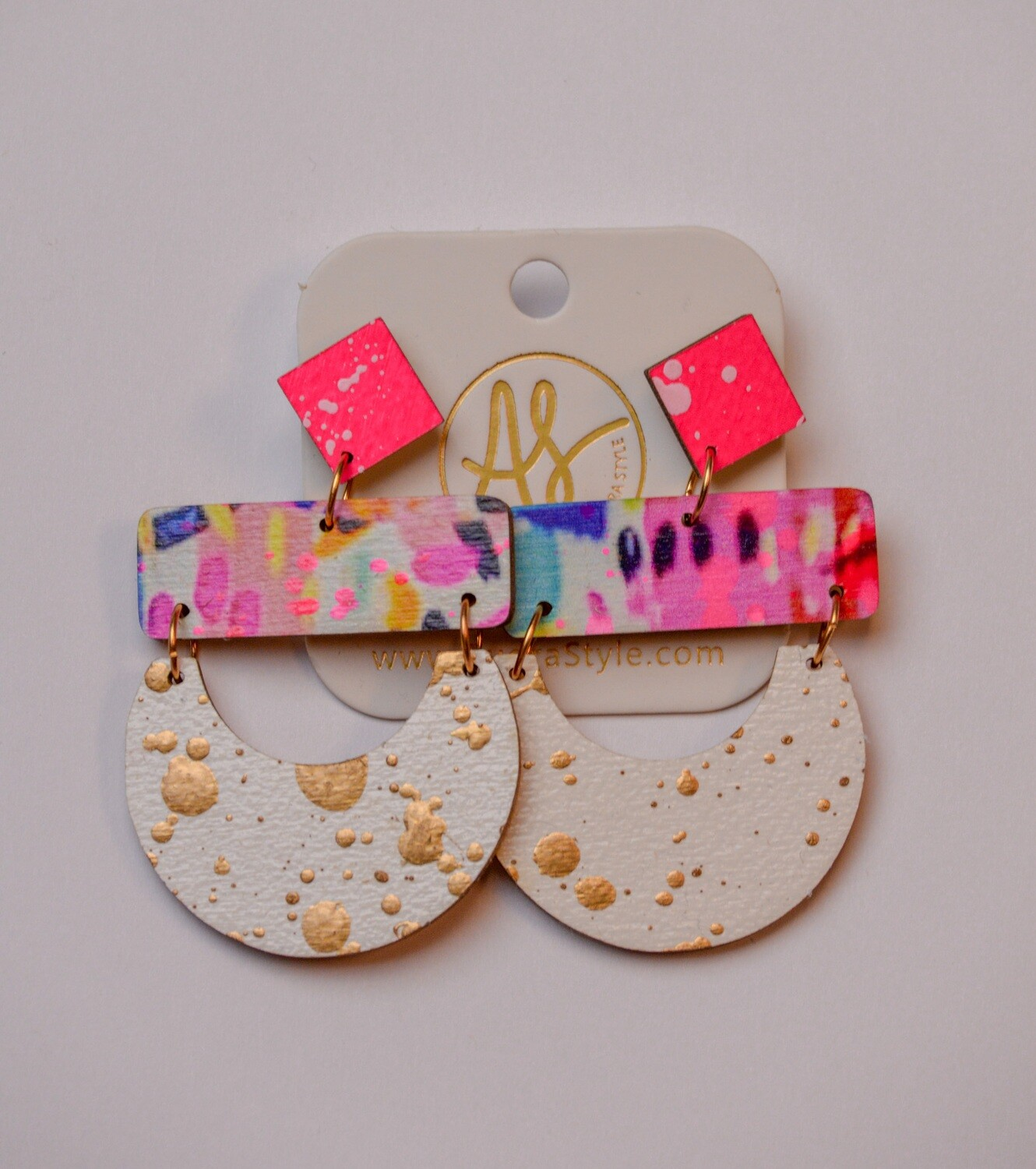 Audra Style Madeline Neon Abstract/White Gold Splatter