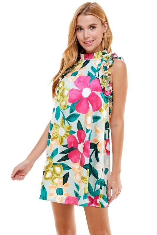 Beachside Frills Dress- Mint