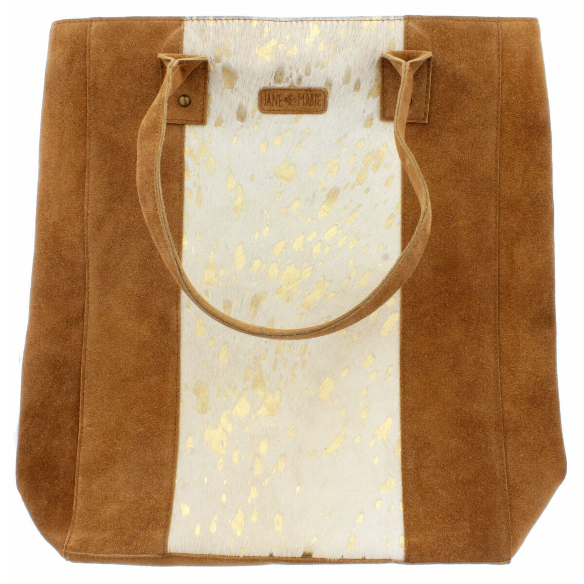 Mabel Large Tote White/Gold Cowhide