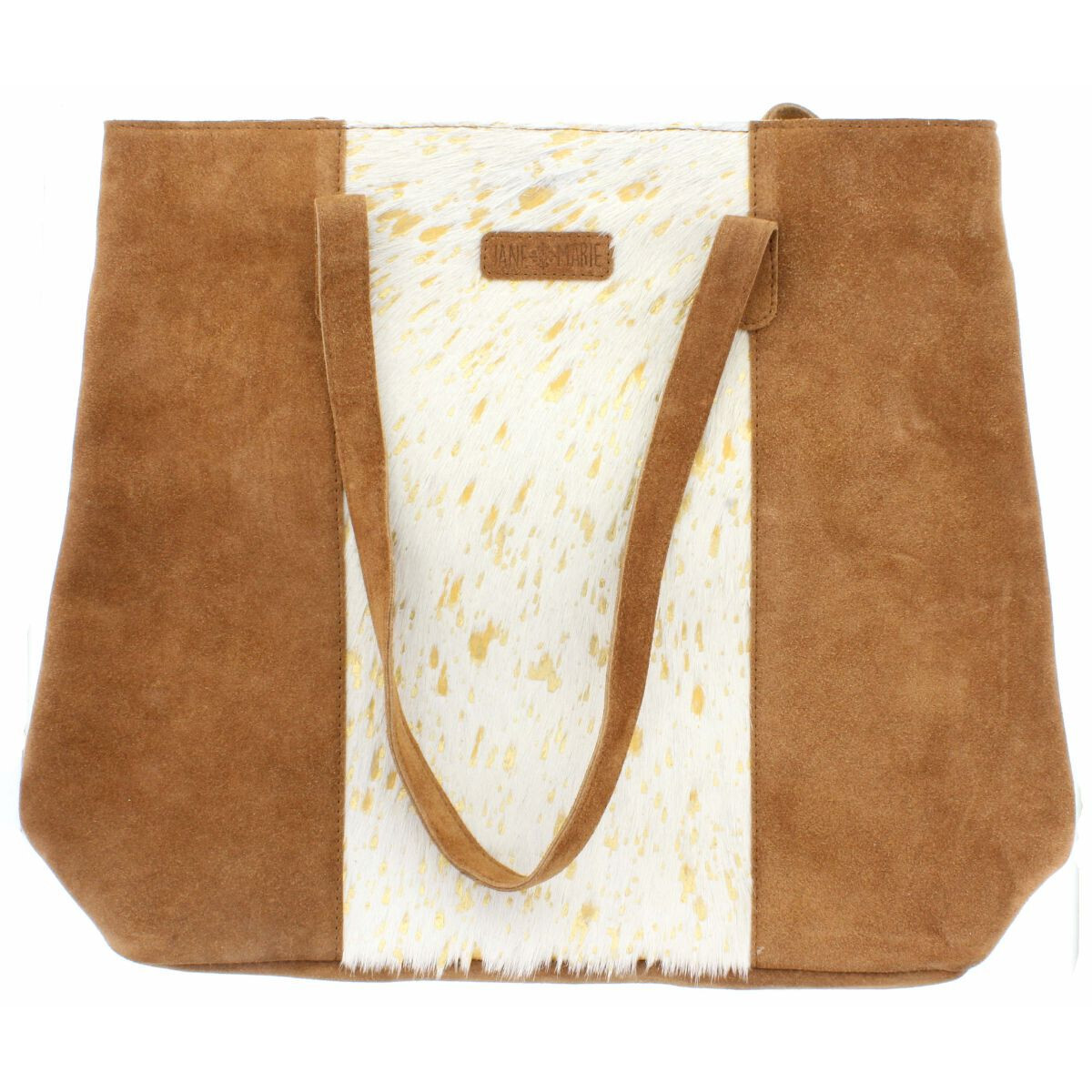 Mabel Tote White/Gold Cowhide