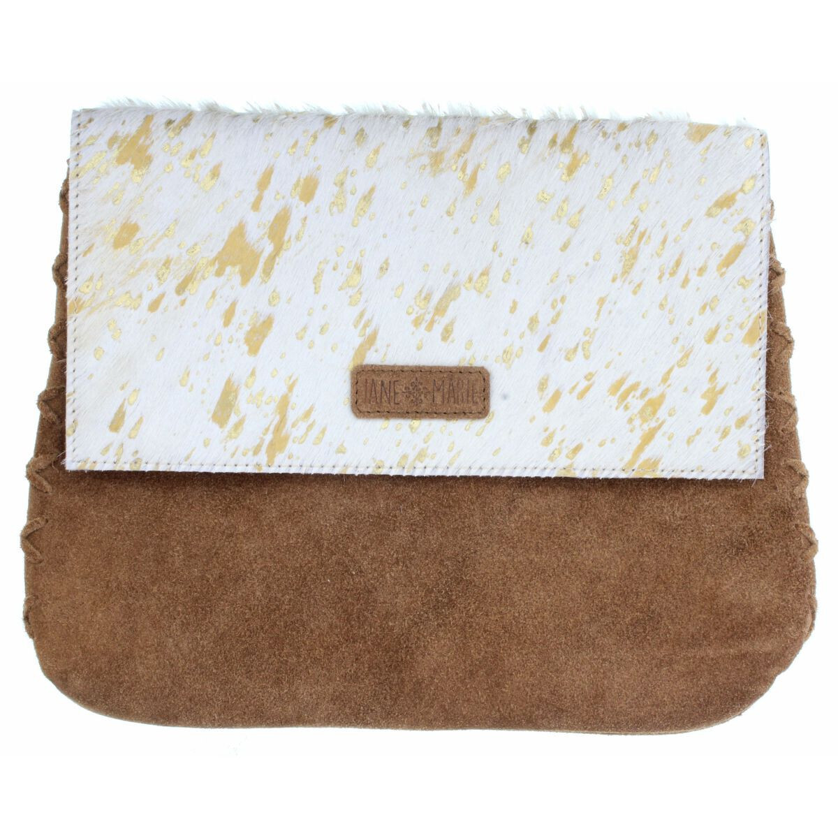 Mabel Crossbody White/Gold Cowhide