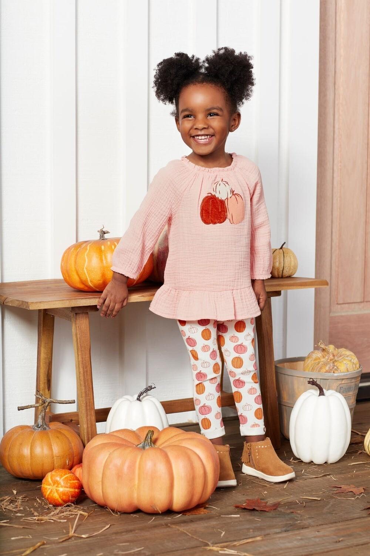 MudPie Pink Pumpkin Tunic & Legging Set