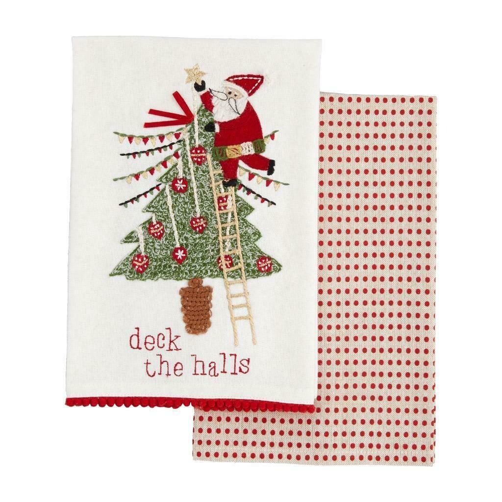 MudPie Santa Christmas Towel Set