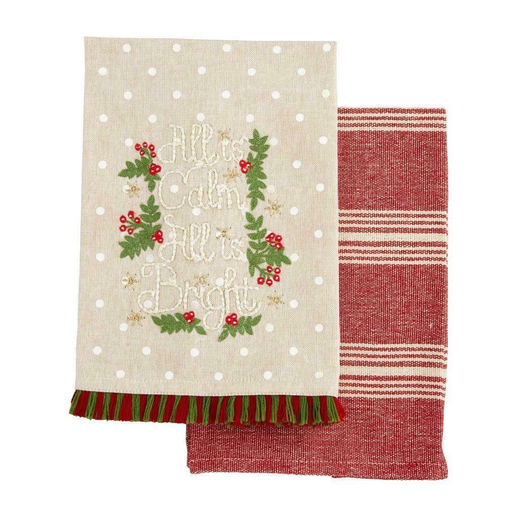 MudPie All Is Calm Christmas Towel Set