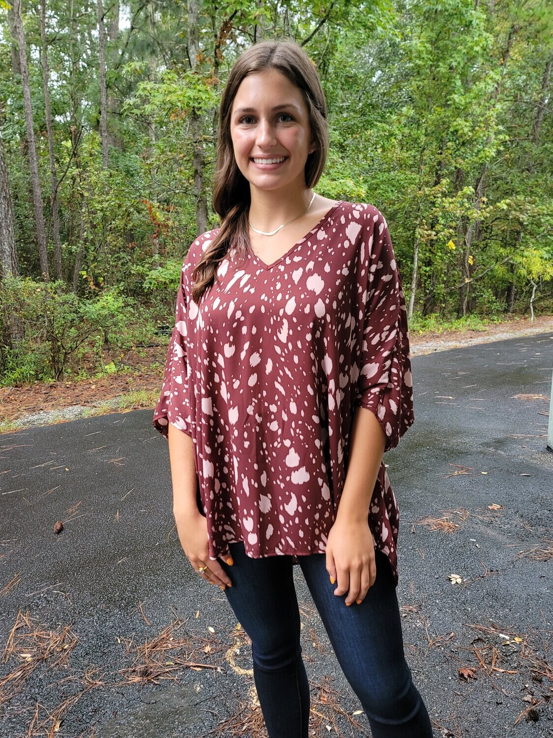 Adrienne Staying Alive Poncho Top in Maroon