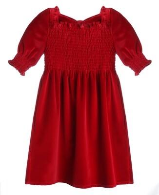 Gabby Velvet Smocked Dress