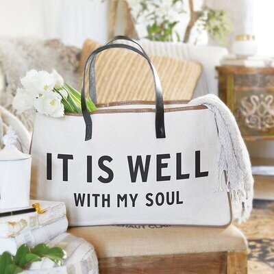 It Is Well Large Canvas Tote