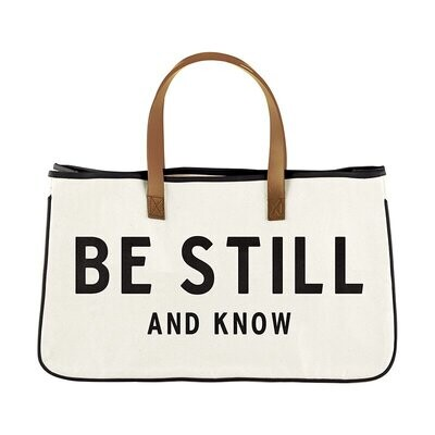 Be Still And Know Large Canvas Tote