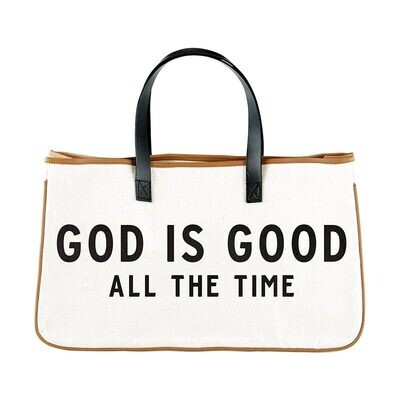 God is Good All the Time Large Canvas Tote