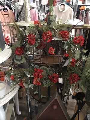 Geranium/Ivy/Fern Wreath