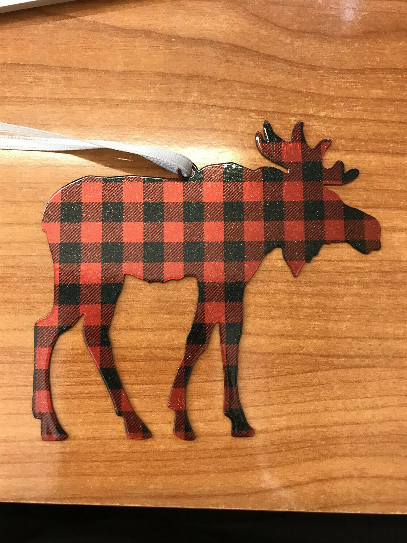 Buffalo Plaid Moose Ornament