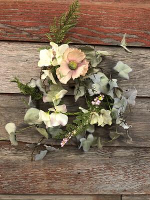 Poppy/Hydrangea Candle Wreath