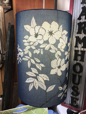 blue lampshade w/ flowers