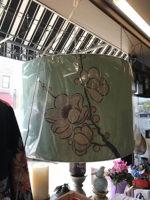 aqua lamp shade w\flowers