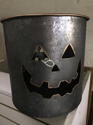 Metal Bucket Jack-O-Lantern LG