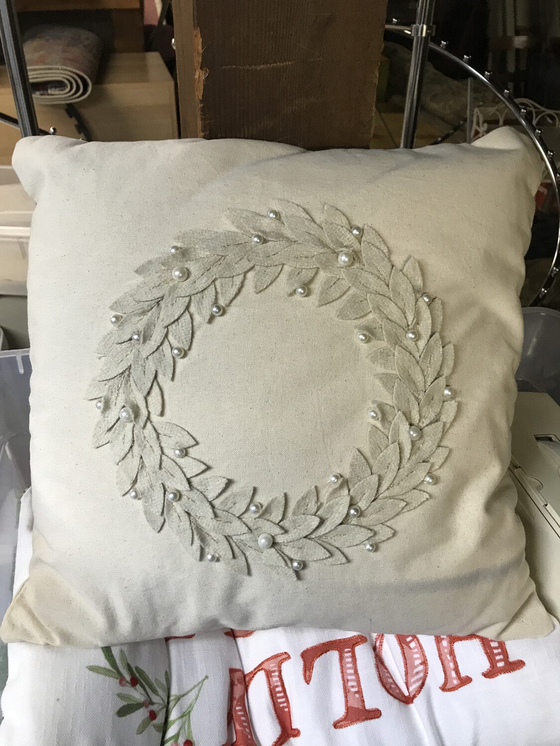 Ivory Wreath Embroidered Pillow