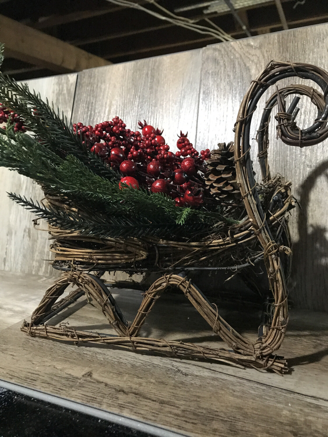 Wicker Sleigh w/Frosted Berries