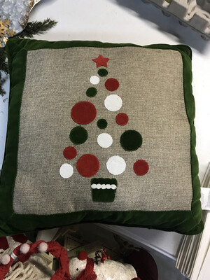 Burlap Tree/Orn Pillow
