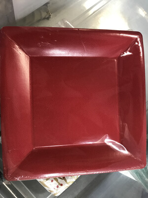 Plate Sq Dinner Pebble Red