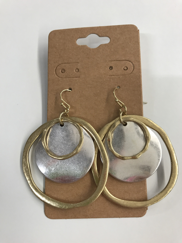 2 Tone Hammered Earring