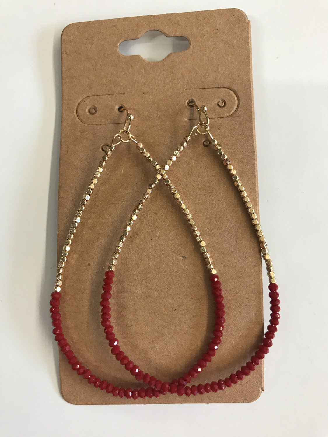 Beaded Red Hoops