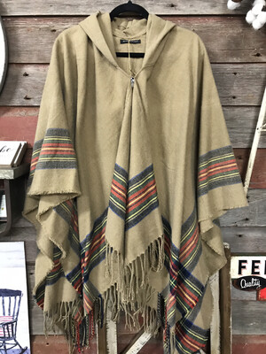 Hooded Stripe Poncho