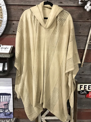 Hooded Checked Poncho