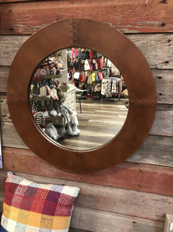 """25"""" Round Leather Mirror"""