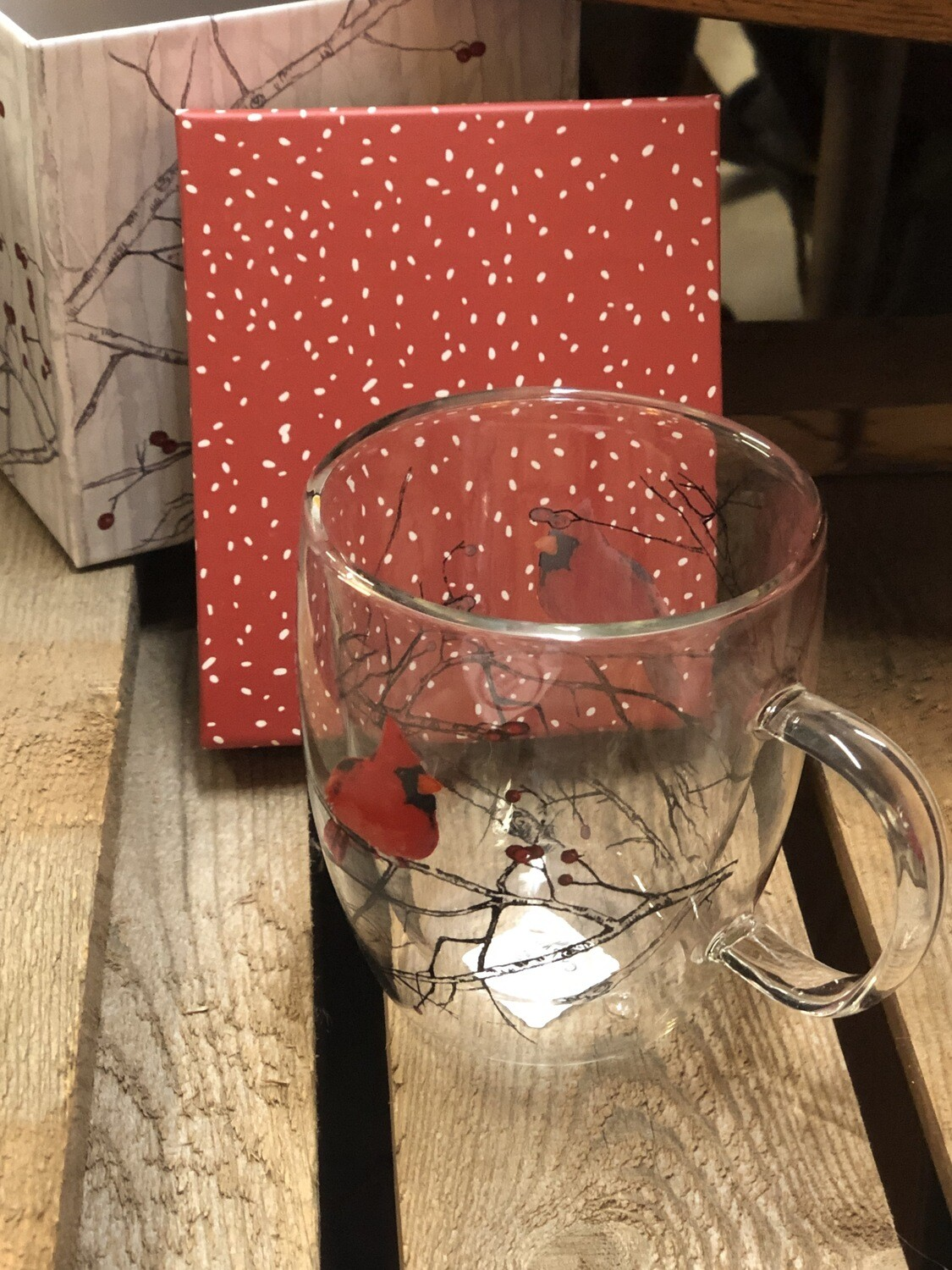 Clear Glass Cardinal Mug