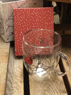 Clear Glass Cardinal Mug
